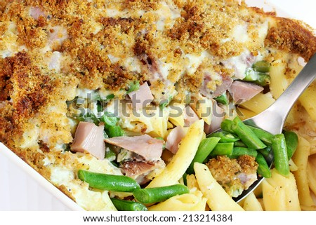Ham, cheese and green bean casserole - stock photo