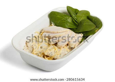 Ham, cheese and spinach in a bowl on a white background - stock photo