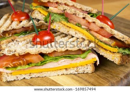 Ham Panini Italian grilled sandwich - stock photo