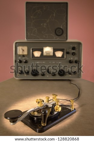 Ham Radio with CW/Code Key in Foreground - stock photo