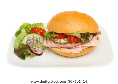 Ham salad roll with salad garnish on a plate isolated against white - stock photo