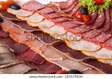 Ham, salami, meat - stock photo