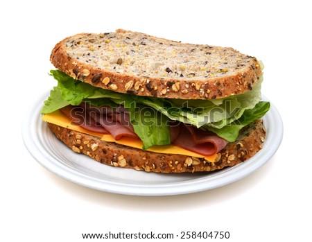 ham sandwich on plate  - stock photo