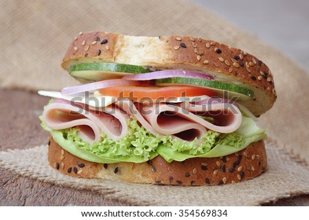 Ham sandwich with cheese  - stock photo