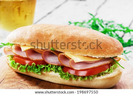ham sandwich with cheese and tomatoes - stock photo