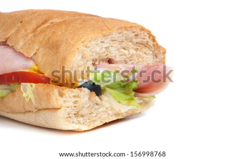 Ham Sandwiches with lettuce, tomato and paprika