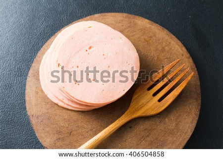ham sausage or rolled bologna slices  - stock photo