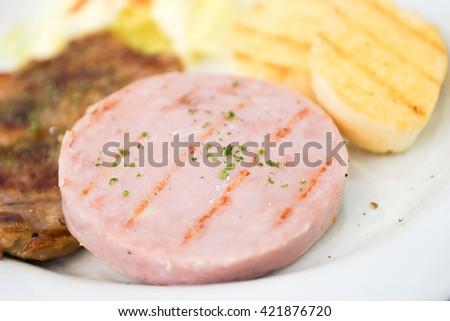 Ham steak - stock photo