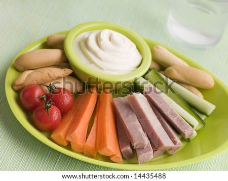 Ham Vegetable and Bread Sticks with Cheese Spread - stock photo