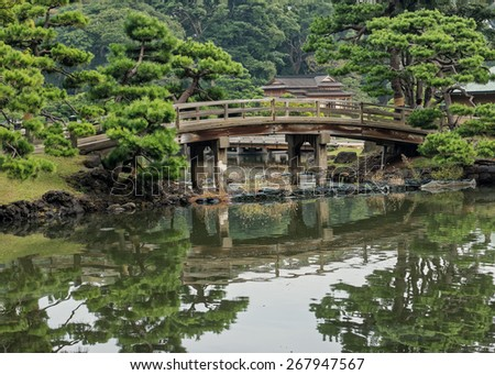 Hama-rikyu Japanese Garden, an oasis of peace in the bustling central Tokyo, Japan
