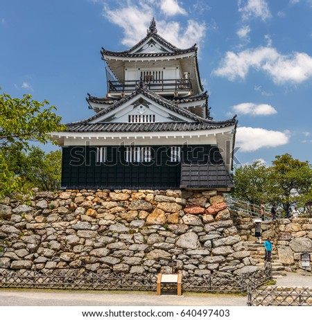 HAMAMATSU, JAPAN - MAY 2: tourists walking down the stairs near the reconstructed hirayama-style Shusse castle in Hamamatsu, Japan on May 2, 2017.