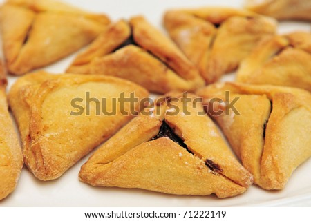 Hamantash, Ozen Haman a traditional Jewish cuisine, traditionally eaten during the Jewish holiday of Purim. - stock photo