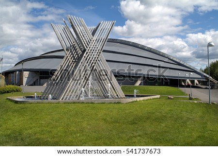 HAMAR, NORWAY - JUNE 06: Artwork in front of skating rink building, used for olympic games in Lillehammer, on June 06, 2009 in Hamar, Norway