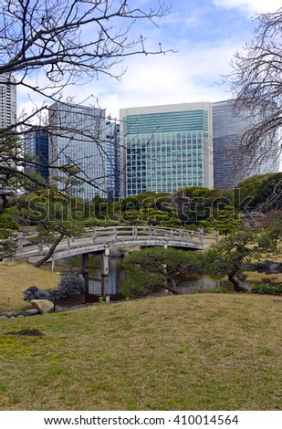 Hamarikyu gardens in Tokyo Japan, a nice example of a traditional Japanese garden in an urban environment