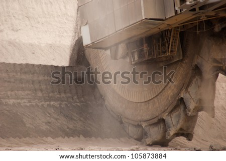 HAMBACH, GERMANY - SEPTEMBER 1: Close-up of one of the world's largest excavators digging lignite (brown-coal) in one of the world's deepest open-pit mines in Hambach on September 1, 2010. - stock photo