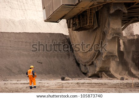 HAMBACH, GERMANY - SEPTEMBER 1: One of the world's largest bucket-wheel excavators digging lignite (brown-coal) in of the world's deepest open-pit mines in Hambach on September 1, 2010.