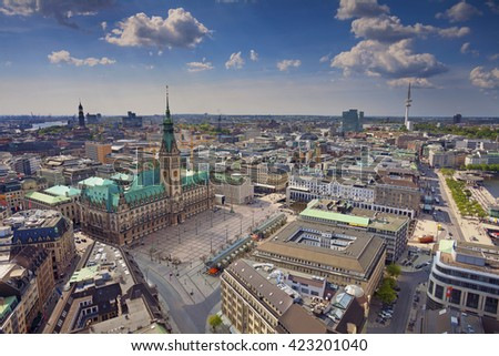 Hamburg. Aerial image of Hamburg, Germany during spring day.