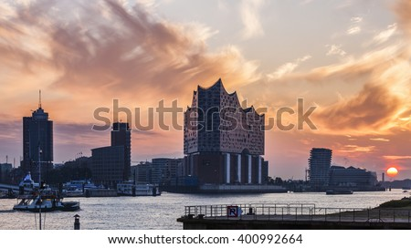 Hamburg architecture across the river at sunrise. Hamburg, Germany. - stock photo
