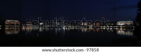 Hamburg at night - stock photo