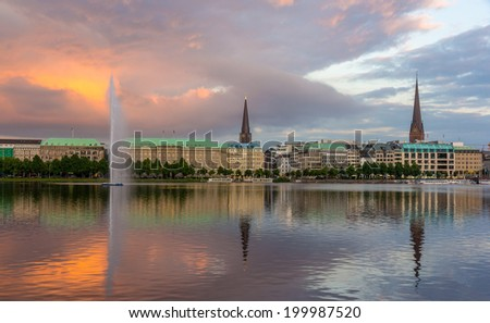 Hamburg city center and Binnenalster lake - Germany - stock photo