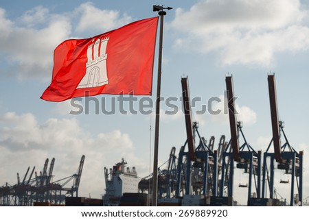hamburg city flag weaving on sky background - stock photo