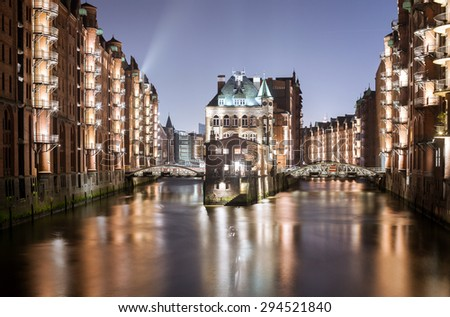 Hamburg famous Speicherstadt - stock photo