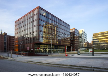 Hamburg, Germany - April 10, 2015: HafenCity in Hamburg. Is the one of the largest rebuilding projects in Europe.