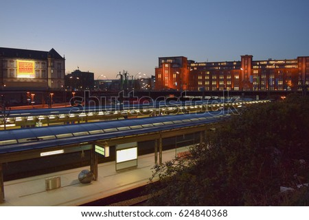 HAMBURG/GERMANY - APRIL 5 2017: Streets and buildings of Hamburg at night. The second largest city in Germany. Free and Hanseatic City. Europe