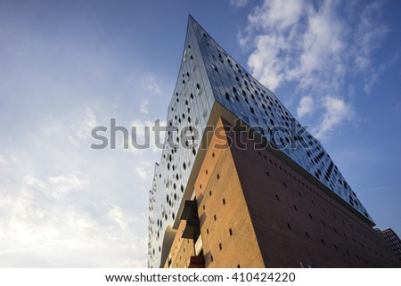 Hamburg, Germany - April 10, 2015: The Elbphilharmonie, a concert hall under construction in the Hafen City quarter of Hamburg, Germany.