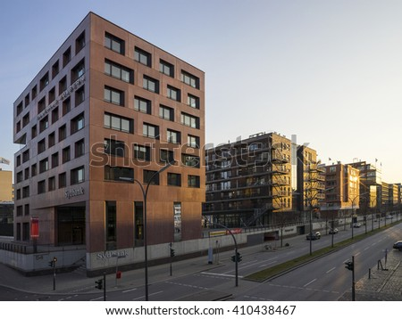 Hamburg, Germany - April 10, 2015: The old Speicherstadt in Hamburg, Germany, at evening.