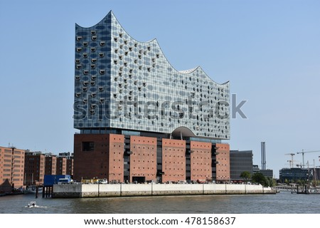HAMBURG, GERMANY - AUG 27: Elbphilharmonie Concert Hall in Hamburg, Germany, as seen on Aug 27, 2016. It is currently under construction and scheduled to open in 2017.