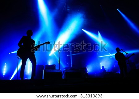 HAMBURG, GERMANY - AUGUST 21, 2015: Indierock band Interpol from New York City on stage at MS Dockville Festival on August 21, 2015 in Hamburg.