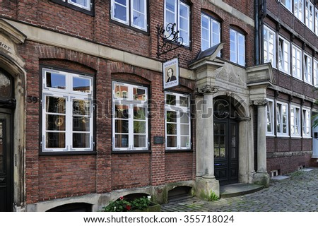HAMBURG, GERMANY - 21 AUGUST 2015: Johannes Brahms Museum on Peterstrasse, Neustadt district.  Johannes Brahms was a German composer and pianist. Born in Hamburg.