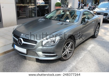 HAMBURG, GERMANY - AUGUST 28, 2014: Mercedes-Benz SL65 AMG parked in Hamburg. The current R231 model has been in production since 2012.