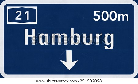 Hamburg Germany Highway Road Sign - stock photo