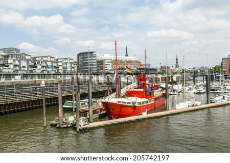 HAMBURG: GERMANY - JULY 17, 2014: famous Lightship LV 13 serves nowadays as Restaurant in Hamburg, Germany. The ship was build in 1952 in Dartmouth, England.