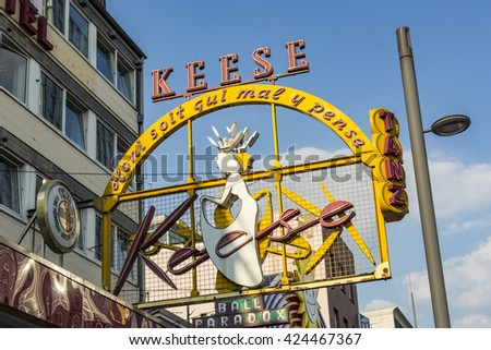 HAMBURG, GERMANY - JULY 25, 2012: famous sign Cafe Keese at the Reeperbahn in Hamburg. The cafe was founded by Mr. Keese in 1948.