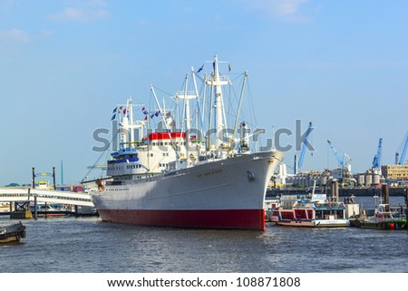 HAMBURG, GERMANY - JULY 25: historic freighter San Diego in the harbor, the world biggest running museum ship on July 25,2012 in Hamburg, Germany.