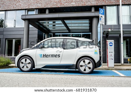 Hamburg / Germany - July 15, 2017: The company Hermes is u sing E-Cars in their headquarter in the city of Hamburg, Germany, Europe