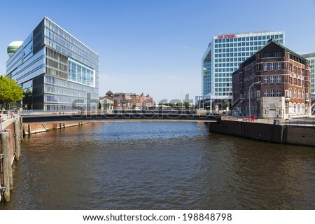 Hamburg, Germany - July 7: The Deichtorcenter and Der Spiegel buildings in Hamburg, Germany on July 7, 2013