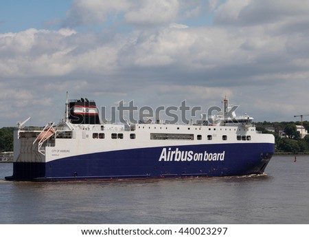 "Hamburg, Germany, June 18, 2016, Airbus Transport ship ""City of Hamburg"" which is used to transport Airbus assemblies, as seen  on the Elbe, entering the Port of Hamburg."