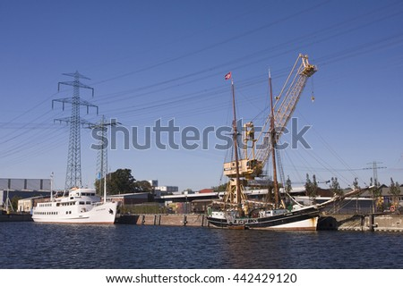 HAMBURG,GERMANY -JUNE 19, 2016Old sailing ship at the pilot channel in Harburg's inland port in Harburg, Hamburg, Germany, Europe