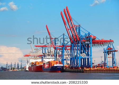 HAMBURG, GERMANY - JUNE 25, 2014: Port of Hamburg on the river Elbe, the largest port in Germany and one of the busiest ports in Europe - stock photo
