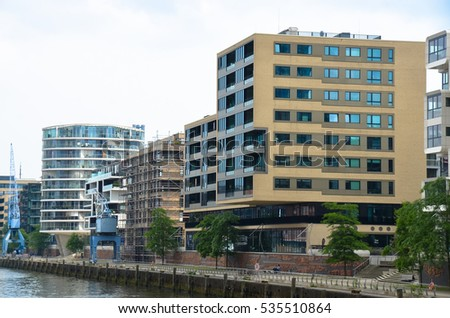 HAMBURG, GERMANY - JUNE 15, 2016: View of the city architecture on June 15, 2016.