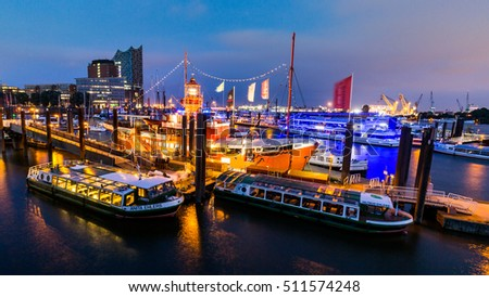 HAMBURG, GERMANY - JUNE 8, 2016: View of the St. Pauli Piers (German: St. Pauli Landungsbrucken) one of Hamburg's major tourist attractions on June 8, 2016. Its the largest landing place Hamburg.