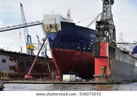 HAMBURG, GERMANY - 22 MARCH 2015: Ship at the dock on Elbe river.