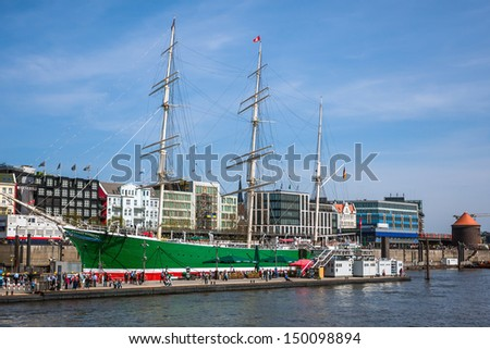 HAMBURG, GERMANY - MAY 1, 2013: Ships at Hamburg harbor on May 1st, 2013. Port of Hamburg is the second busiest in Europe. There are various museum ships, musical theaters, bars, restaurants and hotel