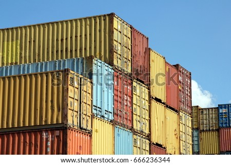 HAMBURG, GERMANY   MAY 21, 2017: Stacked Varicolored Shipping Containers At  A Storage