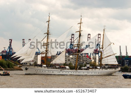 HAMBURG, GERMANY - MAY 08, 2015: Tall ship Gorch Fock in Hamburg harbour. The tall ship takes part in the grand opening parade of the annual harbour anniversary festival.