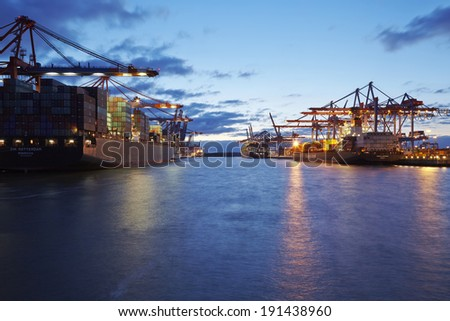 hamburg germany may 15 container vessels stock photo 194293787 shutterstock. Black Bedroom Furniture Sets. Home Design Ideas
